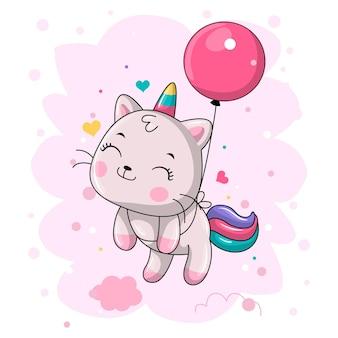 Unicorno sveglio del gatto che galleggia con l'illustrazione dell'icona del fumetto del palloncino
