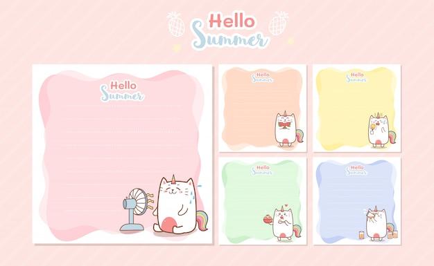 Modello di note di memo estate unicorno gatto carino per prenotazione di rottami di saluto Vettore Premium