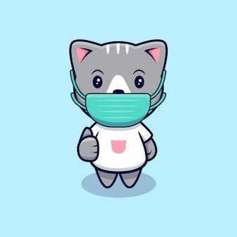 Simpatico gatto che indossa la maschera medica icona del fumetto illustrazione. stile cartone animato piatto
