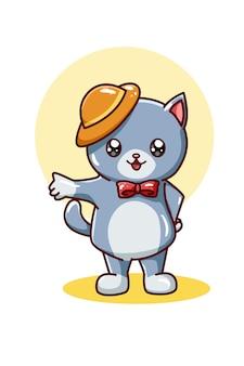 Gatto sveglio che porta l'illustrazione gialla del cappello