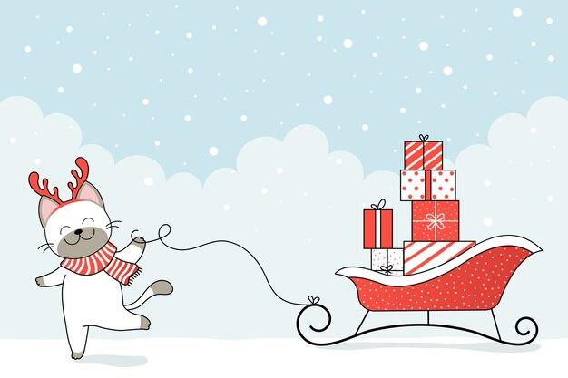 Simpatico gatto in copricapo invernale e slitta di babbo natale con confezione regalo. felice anno nuovo e buon natale