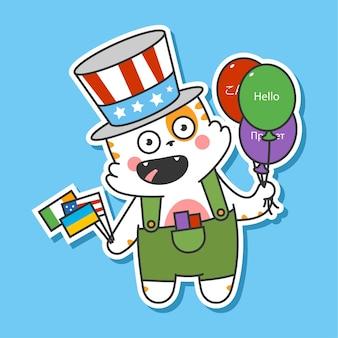 Simpatico gatto con palloncino e bandiere personaggio dei cartoni animati di vettore isolato su priorità bassa. illustrazione del concetto di apprendimento delle lingue.