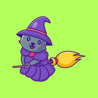 Simpatico gatto con la scopa felice illustrazioni di cartoni animati di halloween