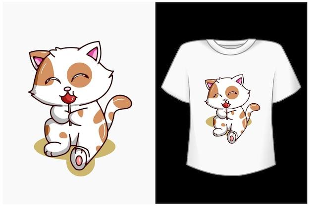 Simpatico gatto con illustrazione di cartone animato di caramelle