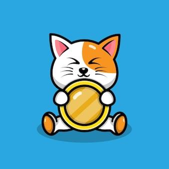 Simpatico gatto con illustrazione di monete