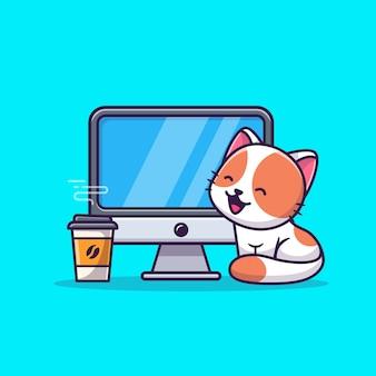 Illustrazione sveglia dell'icona del fumetto di cat with computer and coffee. concetto dell'icona di tecnologia animale isolato. stile cartone animato piatto