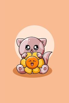 Simpatico gatto con illustrazione di cartone animato fiore