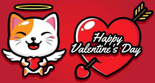 Simpatico gatto con auguri di buon san valentino