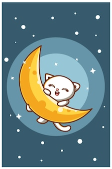 Gatto sveglio con la luna al fumetto animale di notte
