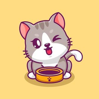 Simpatico gatto con la ciotola dell'animale domestico cartone animato