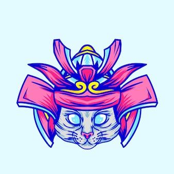 Gatto sveglio con illustrazione di disegno del casco del samurai per i bambini