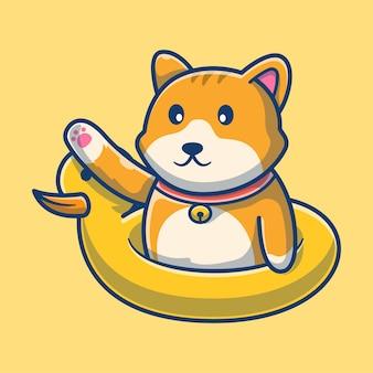 Gatto sveglio con il fumetto dell'anatra di nuoto .concetto del fumetto dell'icona del gatto. illustrazione degli animali. stile cartone animato piatto