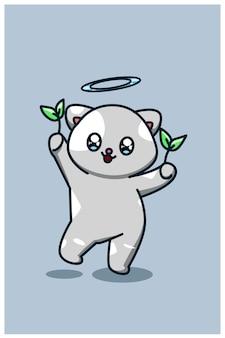 Simpatico gatto con l'albero spara l'illustrazione animale del fumetto