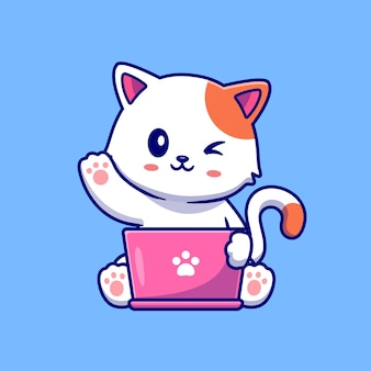 Gatto sveglio che lavora al computer portatile con l'illustrazione dell'icona di vettore del fumetto della tazza di caffè.