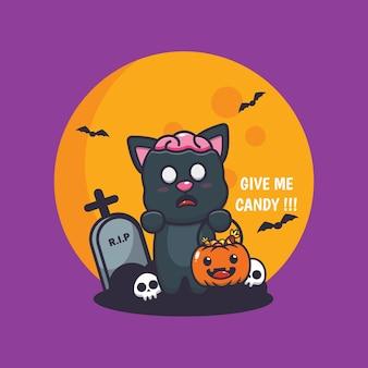 Simpatico gatto zombie vuole caramelle simpatica illustrazione di cartone animato di halloween