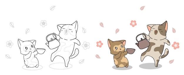 I gatti svegli stanno bevendo il tè facilmente pagina da colorare per i bambini