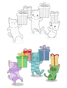 I gatti svegli stanno sollevando la pagina da colorare dei cartoni animati di scatole regalo per i bambini