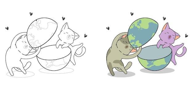 I gatti carini adorano la pagina da colorare dei cartoni animati del mondo per i bambini