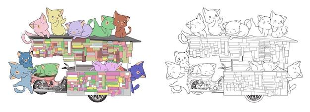 I gatti carini sono in una stalla portatile da colorare cartone animato