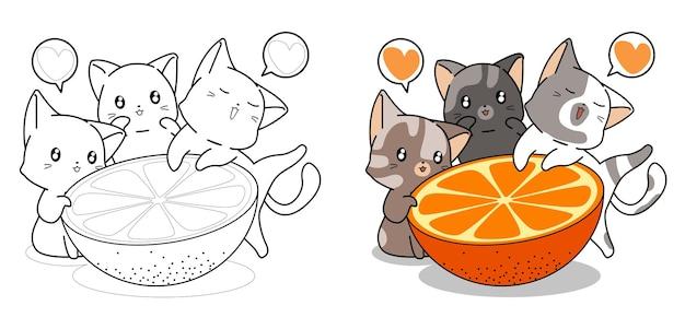 Pagina da colorare di gatti carino e grande fumetto arancione