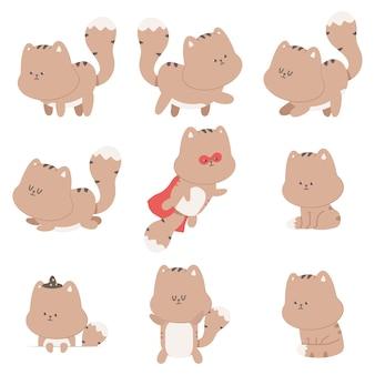 Set di personaggi dei cartoni animati di gatti carino isolato su uno sfondo bianco.