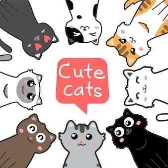 Set di cartoni animati di gatti carini vettore