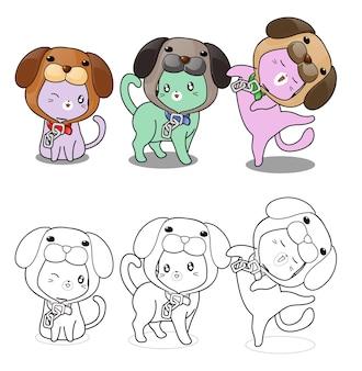 Simpatici gatti e cane cappello da colorare cartone animato