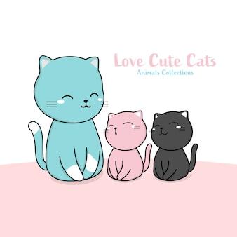 Stile disegnato a mano animale della famiglia di gatti svegli