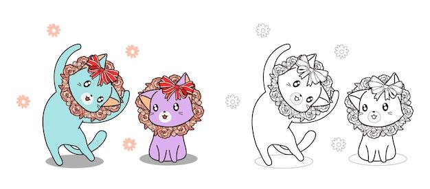 Simpatici gatti e fiori sono la pagina da colorare dei cartoni animati di felicità