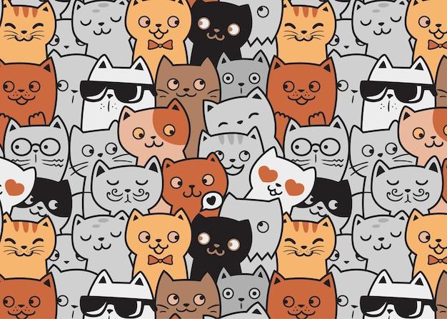 Fondo divertente di scarabocchio del modello dei gatti svegli