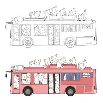 I gatti svegli sono entrati nella pagina da colorare dei cartoni animati dell'autobus per i bambini