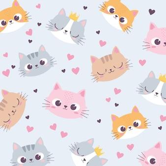 Le teste di gatti svegli amano il fondo divertente del carattere animale del fumetto del cuore