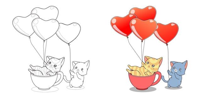 Pagina da colorare di gatti carino e palloncini cuore per i bambini