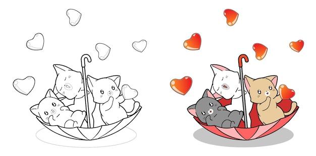 I gatti svegli sono in ombrello con la pioggia della pagina da colorare dei cartoni animati di amore