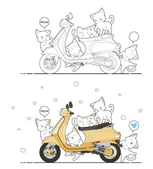 Pagina da colorare di cartoni animati carino gatti e moto per bambini Vettore Premium