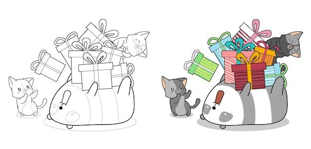 Pagina da colorare di cartoni animati carino gatti e panda