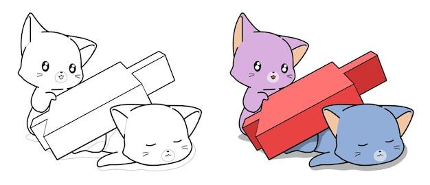 Pagina da colorare di cartoni animati carino gatti e candeliere rosso per bambini
