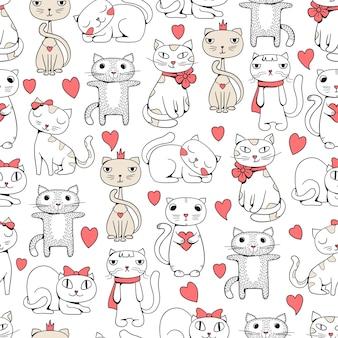 Gatti carini senza soluzione di continuità. animali divertenti doodle pattern per bambini disegno tessile illustrazioni di gatti.