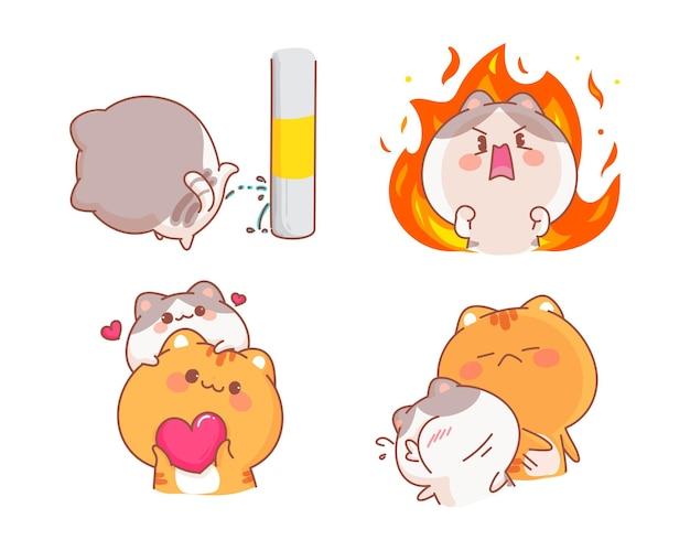 Insieme sveglio dei gatti dell'illustrazione del fumetto del carattere allegro