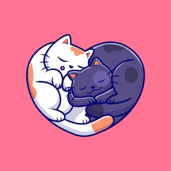 Gatti svegli che dormono insieme fumetto illustrazione Vettore Premium