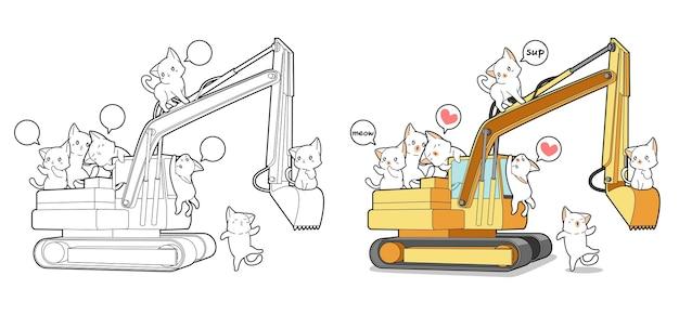 Pagina da colorare di gatti carino e trattore del fumetto per i bambini