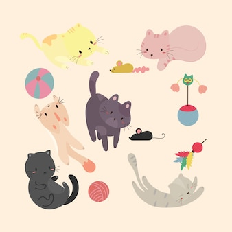 Set carino cats.vector