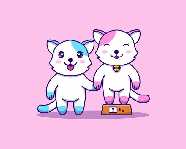 Gatti carini su una bilancia