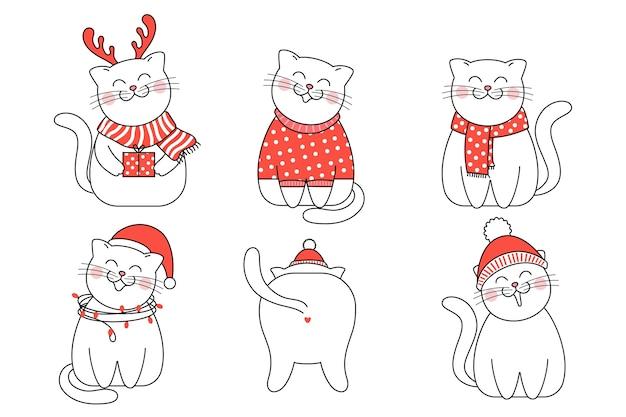 Gatti carini in copricapo invernale, collezione di gatti natalizi. ciao inverno