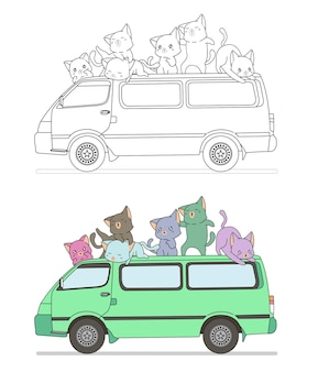 Gatti svegli con la pagina da colorare dei cartoni animati di van per bambini