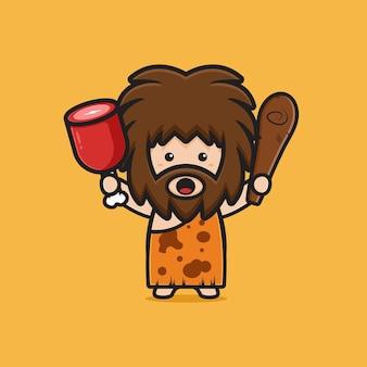 Simpatico uomo delle caverne che tiene carne e clubwooden randello icona del fumetto. design piatto isolato in stile cartone animato