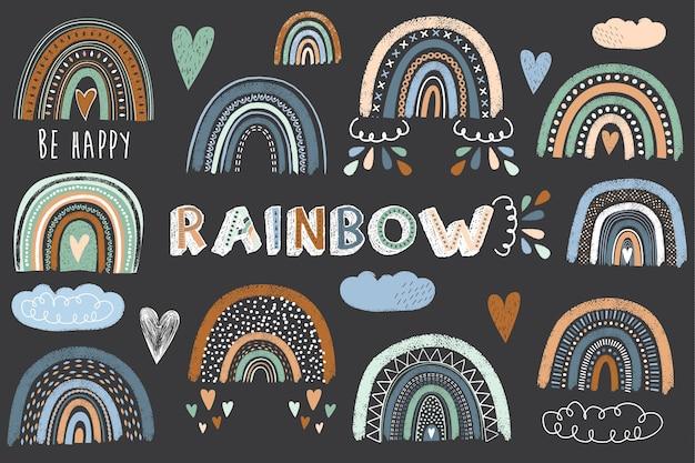 Insieme di collezioni di boho rainbow carino lavagna