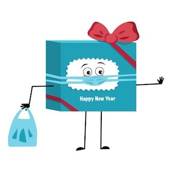 Simpatica confezione regalo con personaggi per il nuovo anno con fiocco ed emozioni tristi, viso e maschera mantengono le distanze, mani con borsa della spesa e gesto di arresto. confezione festiva per natale