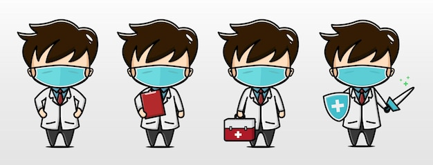 Simpatico personaggio illustrazione dottore coronavirus