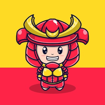 Simpatico personaggio illustrazione armatura samurai
